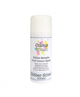 Colour Splash Edible Food Colour Spray Metallic Glitter Silver 400ml