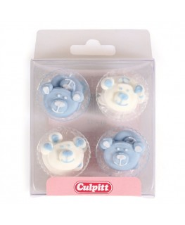 Culpitt Blue Baby Bear Sugar Pipings 12pk