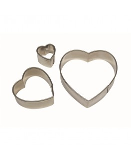 PME Heart Stainless Steel Cutter Set 3pc
