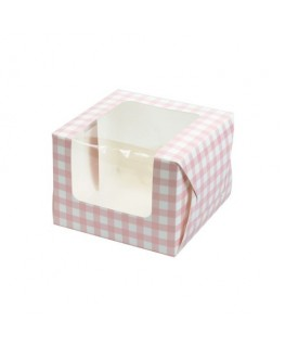 Culpitt Pink Gingham Coloured Single Cupcake/Muffin Box