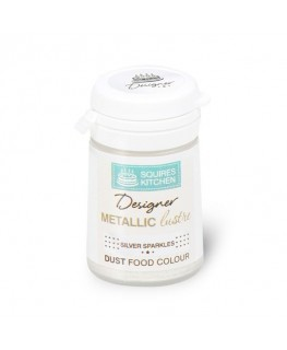 Squires Kitchen Designer Metallic Lustre Dust Silver Sparkles 5g