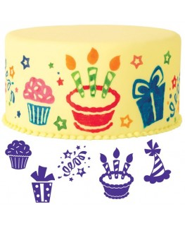 Wilton Party Fun Cake Stamp Set 6pc