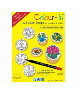 """PME 2"""" Colour-In Edible Designs Cupcake and Cookie Topper 12pk - Giraffe, Monkey, Rhino and Elephant"""