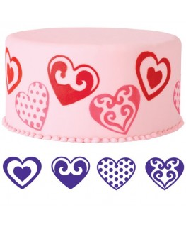 Wilton Hearts Cake Stamp Set 4pc