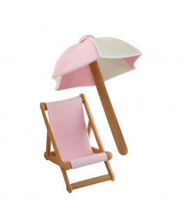 PME Handcrafted Sugar Decorations Umbrella & Deck Chair Pink
