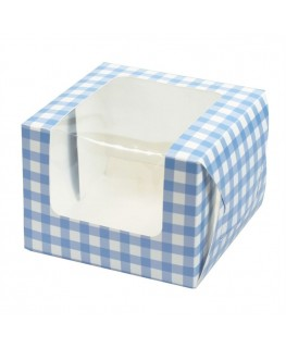 Culpitt Blue Gingham Coloured Single Cupcake/Muffin Box