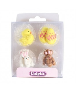 Culpitt Chick, Egg and Rabbit Sugar Pipings 12pk