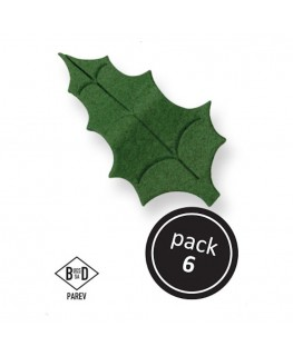 PME Green Flat Holly Leaves 6pk