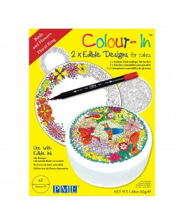"""PME 8"""" Colour-In Edible Designs Cake Topper 2pk - Birds and Floral Ring"""