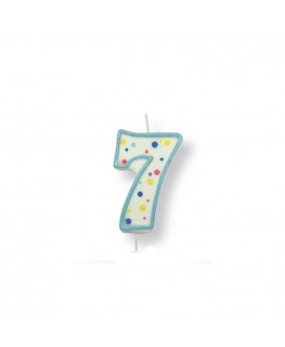 PME Large Blue Number 7 Candle (2.5')