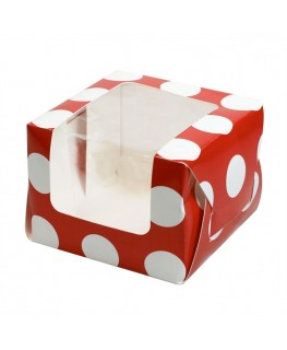 Culpitt Red Polka Dot Coloured Single Cupcake/Muffin Box