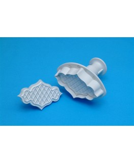 """PME Creative Plaque Embossing Trellis & Quilted Plunger Cutter 65mm (2 1/2"""")"""