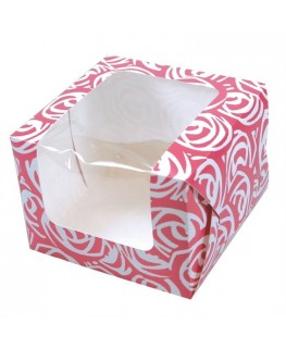Culpitt Pink Roses 1 Cupcake/Muffin Box with inlay