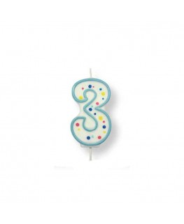 PME Large Blue Number 3 Candle (2.5')