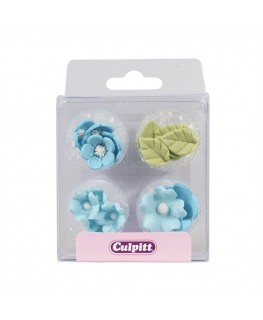 Culpitt Blue Sugar Flowers & Leaves - 16 pieces