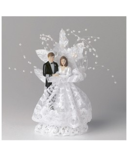 Culpitt Bride and Groom with White Lace and Pearls