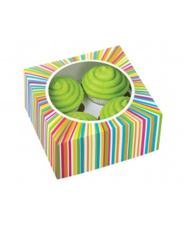 Wilton Colorwheel Cupcake Boxes (Holds 4) 3pk