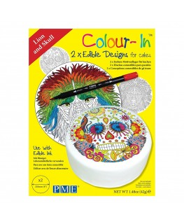 """PME 8"""" Colour-In Edible Designs Cake Topper 2pk - Lion and Skull"""