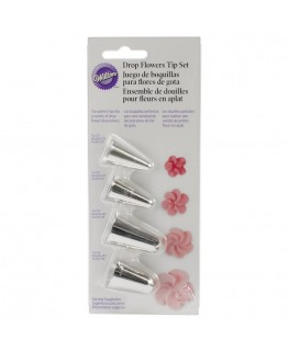 Wilton Drop Flowers Tip Set 4pc