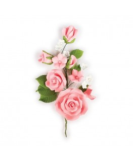 Culpitt Gumpaste Pink Rose Spray - 145mm