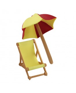 PME Handcrafted Sugar Decorations Umbrella & Deck Chair Yellow