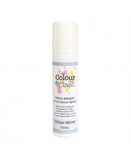 Colour Splash Edible Food Colour Spray Metallic Glitter Silver 100ml