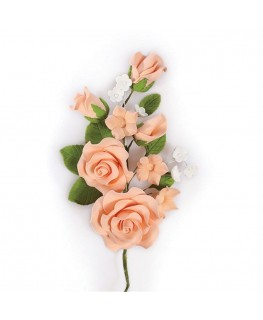 Culpitt Gumpaste Peach Rose Spray - 145mm