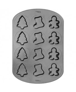Wilton 12 Cavity Christmas Whoopie Pie Tree, Stocking, Gingerbread Pan