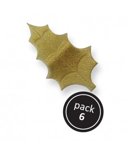 PME Gold Flat Holly Leaves 6pk