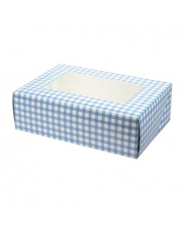 Culpitt Blue Gingham Coloured 6 Cupcake/Muffin Box