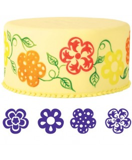 Wilton Flowers Cake Stamp Set 4pc