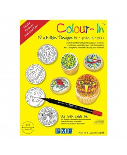 """PME 2"""" Colour-In Edible Designs Cupcake and Cookie Topper 12pk - Snake, Potions, Hat and Owl"""