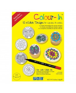 """PME 2"""" Colour-In Edible Designs Cupcake and Cookie Topper 12pk - Butterflies and Flowers"""