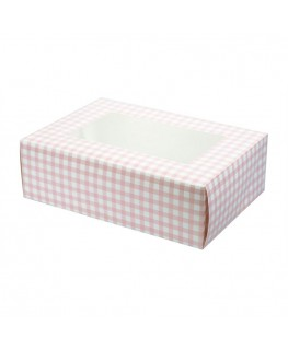 Culpitt Pink Gingham Coloured 6 Cupcake/Muffin Box