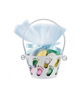 Wilton White Baby Feet Metal Basket 4""