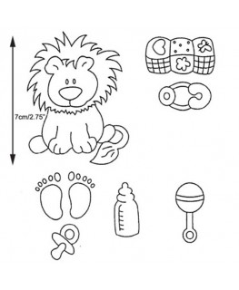Marion Frost Patchwork Cutter & Embosser Baby Lion / Nursery Item Set of 7