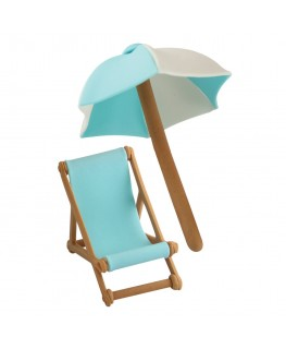 PME Handcrafted Sugar Decorations Umbrella & Deck Chair Blue