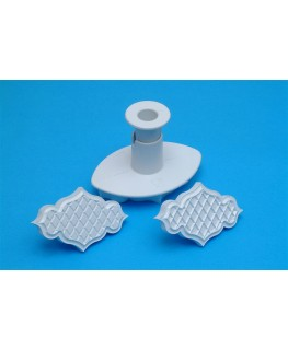 """PME Creative Plaque Embossing Trellis & Quilted Plunger Cutter 80mm (3 1/8"""")"""